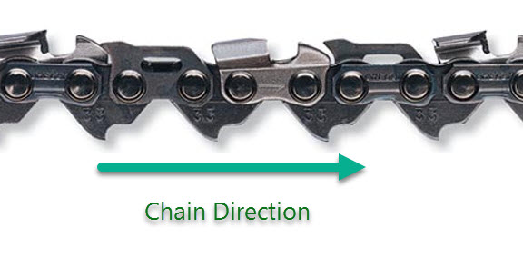Chainsaw chains 11 things you should know sawedfish unfortunately chains can be fitted both ways and if it is put on backwards which many new users do the saw wont cut greentooth Images